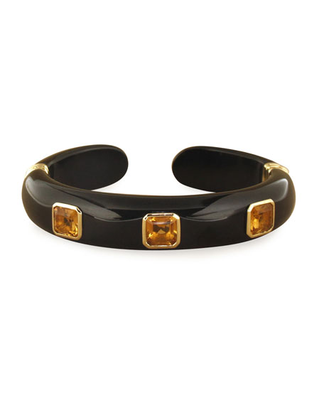Margot McKinney Jewelry 18k Black Jade, Citrine & Tsavorite Garnet Bracelet, Size M