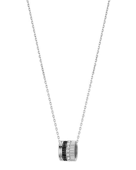 Quatre Mini Ring Pendant Necklace with Black Diamonds