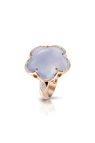 Pasquale Bruni Bon Ton Chalcedony Flower Ring with Diamonds in 18K Rose Gold, Size 6