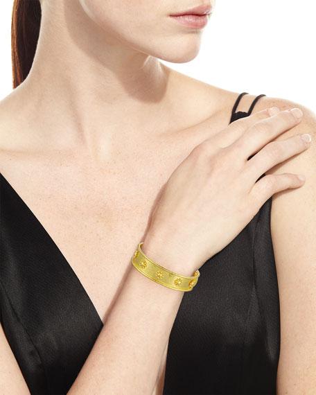 19K Gold Bangle Bracelet w/ Daisies