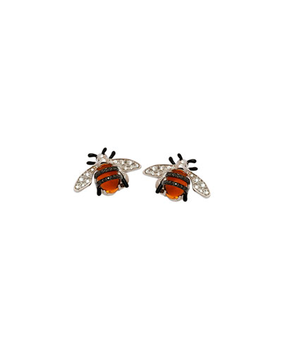 18k Nature Bumble Bee Stud Earrings