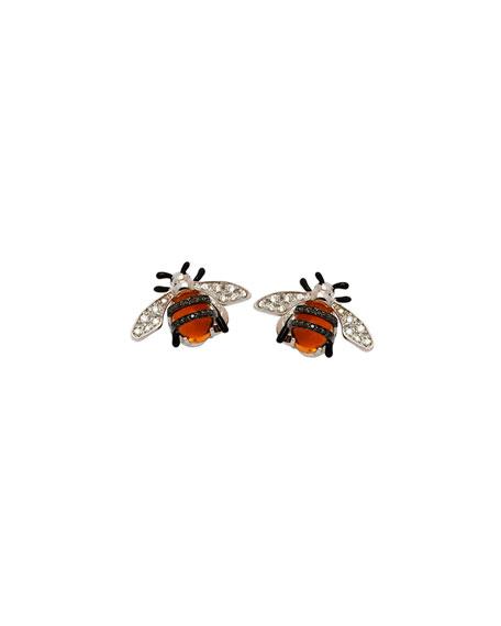 18k Nature Bumble Bee Stud Earrings