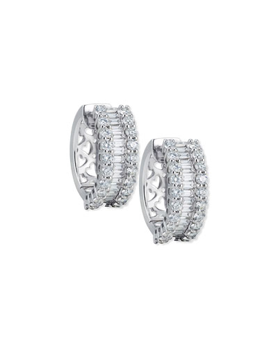 Baguette & Round Diamond Huggie Earrings in 18K White Gold