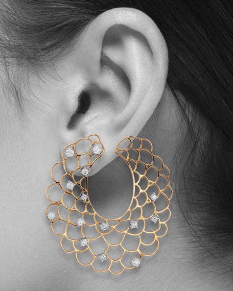Moresca Scalloped Hoop Earrings with Diamonds