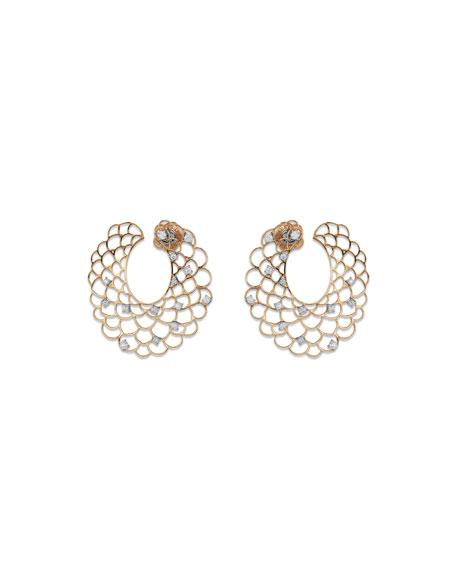 Moresca Scalloped Hoop Earrings with Diamonds