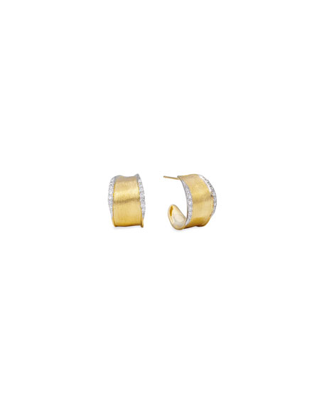 Marco Bicego Lunaria Diamond-Trim Hoop Earrings