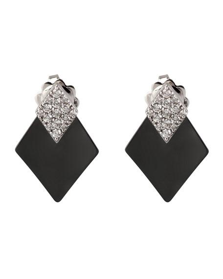 Roberto Demeglio DIVA Black Ceramic & 18k White Gold Diamond Kite Earrings