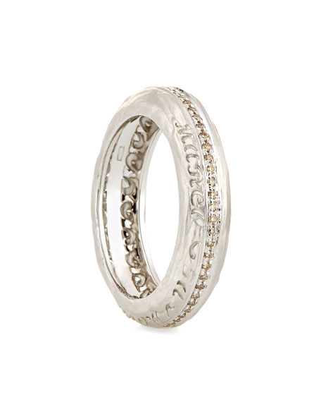 The Other Half Textured 18K White Gold Band Ring with Champagne Diamonds