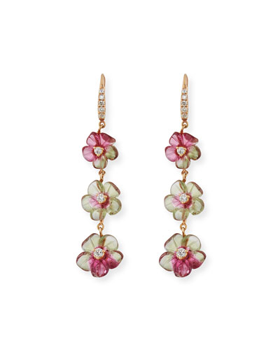 Floral Tourmaline Drop Earrings with Diamonds