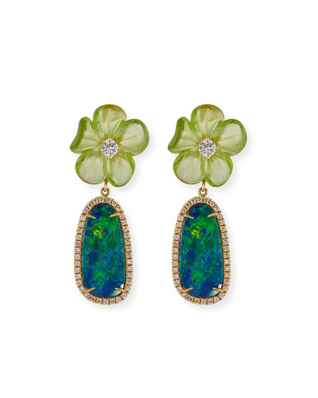 Floral Opal & Peridot Earrings with Diamonds