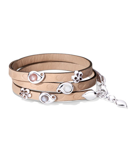 Tamara Comolli Loopy Leather Wrap Bracelet with Moonstone