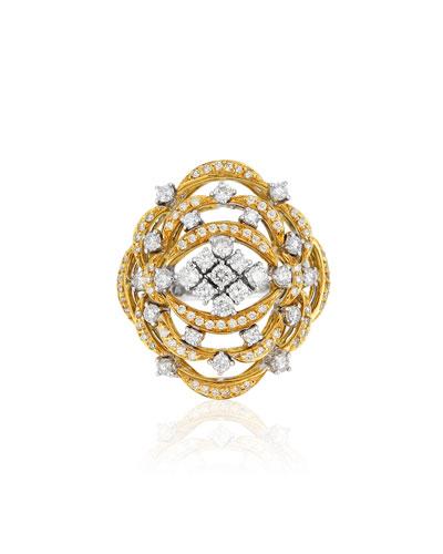 Open Work 18k Gold & Diamond Ring