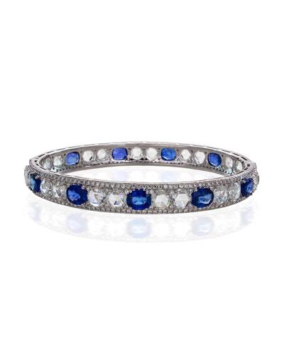 Blue Sapphire & Rose-Cut Diamond Bangle