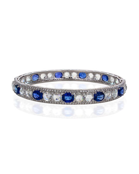 Blue Sapphire & Rose-Cut Diamond Bangle