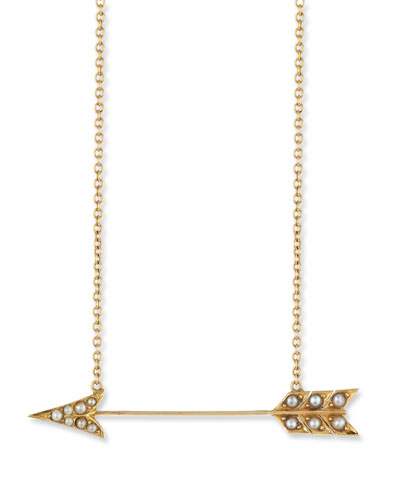 14k Pearly Arrow Pendant Necklace