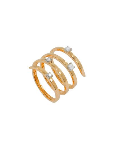 Magic Snake 18K Rose Gold Flex Ring with Diamonds
