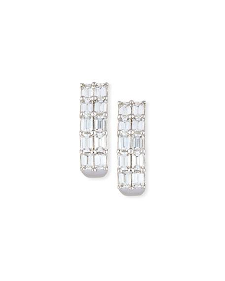 Emerald-Cut Diamond Half-Hoop Earrings