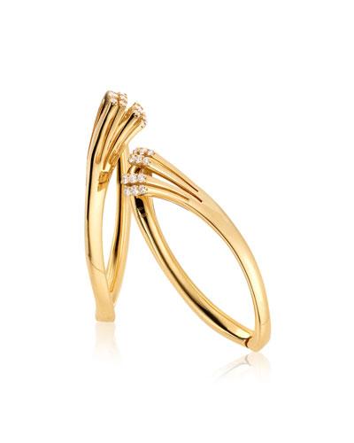 Ventaglio 18k Gold Hoop Earrings w/ Diamonds