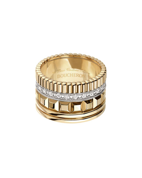 Quatre 18K Yellow Gold Ring with Diamonds, Size 52
