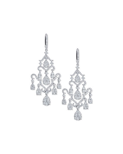Pavé Diamond Chandelier Earrings in 18K White Gold