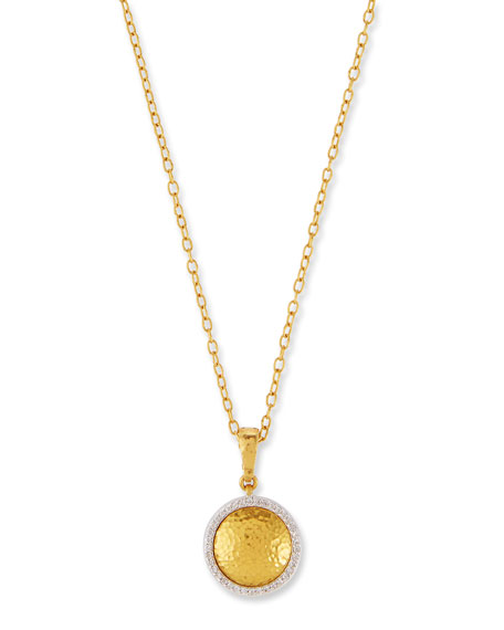 Round Glow Lentil Pendant Necklace with Diamonds