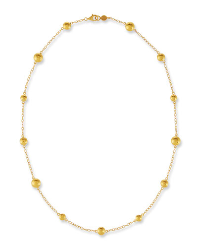 Lentil Station Necklace in 24K Gold, 18