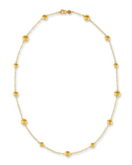 Lentil Station Necklace in 24K Gold, 18""
