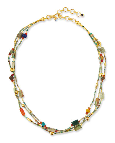 Phoenician Beaded Turquoise Necklace, 16–18