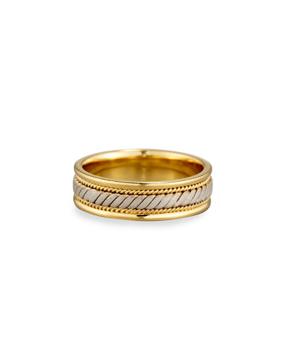 Gents Twisted 18K Yellow & White Gold Wedding Band Ring, Size 10