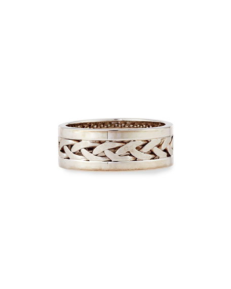 Gents Braided Platinum & 18K White Gold Wedding Band Ring, Size 10