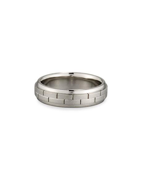Gents Brick Pattern Platinum Wedding Band Ring, Size 10