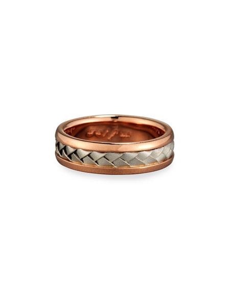 Gents Center Weave Wedding Band Ring in Brushed Rose Gold & Platinum, Size 10.5