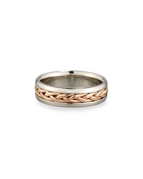 Gents Braided 18K Rose Gold & Platinum Wedding Band Ring, Size 10.5