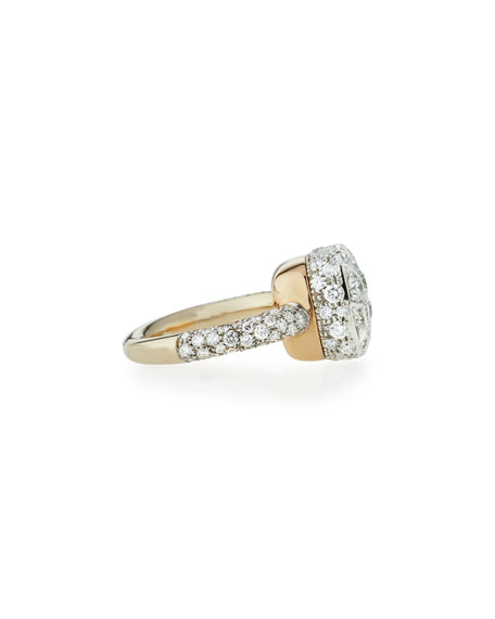 Grande Nudo 18K White & Rose Gold Ring with Diamonds, Size 54