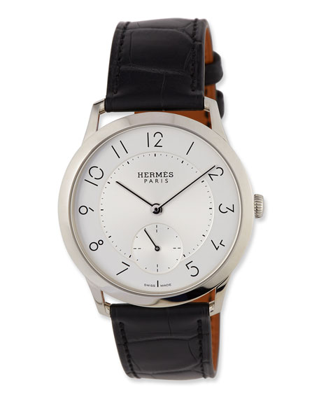 Slim d'Hermes GM Watch with Black Alligator Strap