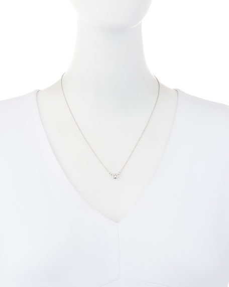 Bezel-Set Oval Diamond Pendant Necklace in 18K White Gold, 0.55 tdcw