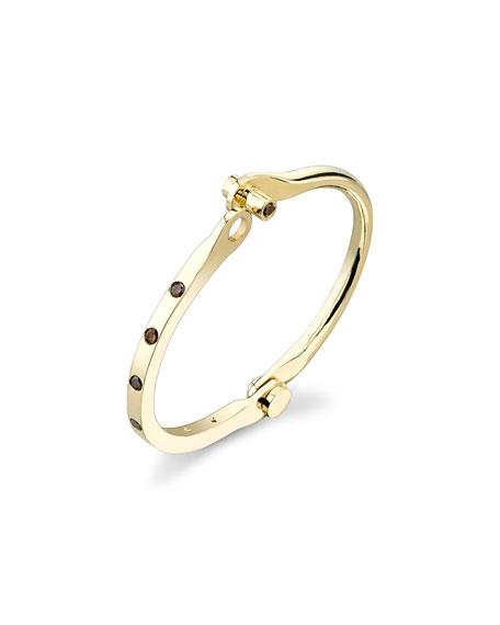 Brown Diamond Studded Handcuff Bracelet in 18K Yellow Gold