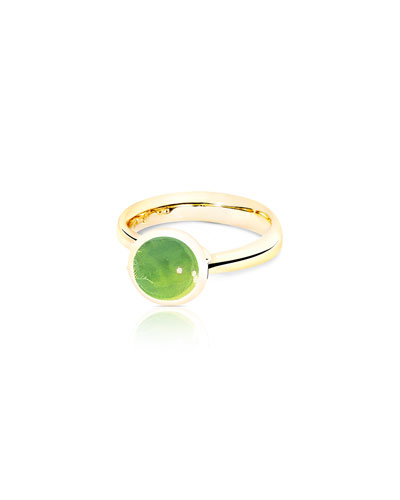 Bouton 8mm Peridot Cabochon Ring in 18k Gold, Size 7/54
