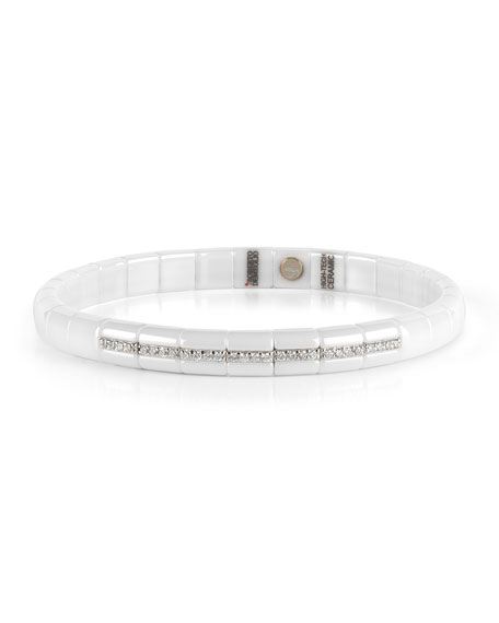 Pura White Ceramic & 18K White Gold Bracelet with Diamonds, 0.25 tdcw