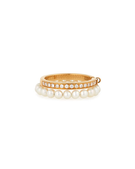 Channel-Set Diamond & Pearl Ring in 18K Gold