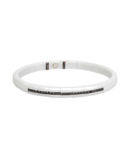 Pura White Ceramic & 18K White Gold Bracelet with Black Diamonds, 0.25 tdcw