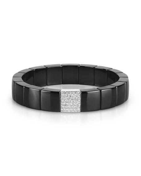 Domino Black Ceramic Stretch Link Bracelet with Pavé Diamond Spacer
