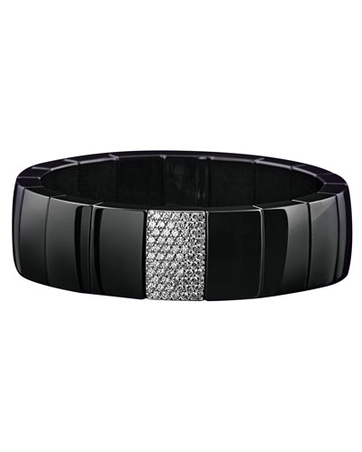Domino Black Ceramic Stretch Bracelet with Diamonds