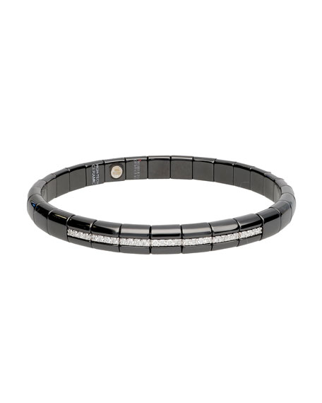 Pura Matte Black Ceramic & 18K White Gold Bracelet with Diamonds, 0.25 tdcw
