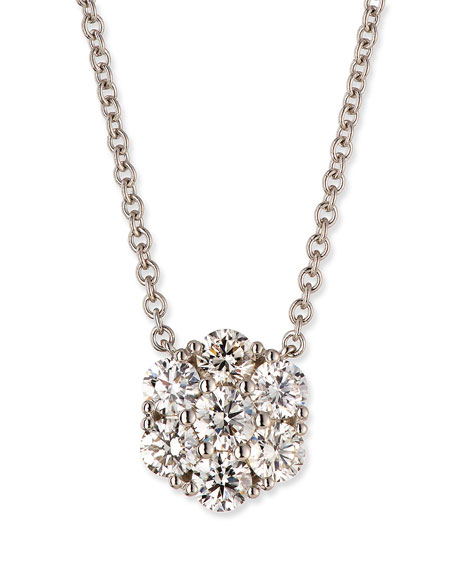 Diamond Flower Pendant Necklace in 18K White Gold, 0.75 tdcw