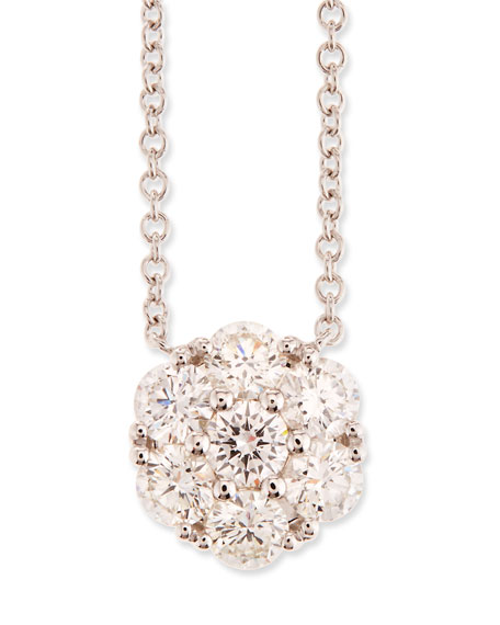 Diamond Flower Pendant Necklace in 18K White Gold, 0.97 tdcw