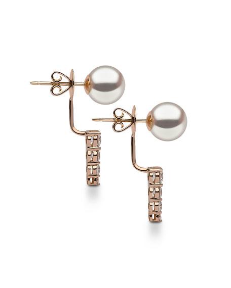 18K Rose Gold Linear Diamond & Pearl Jacket Earrings
