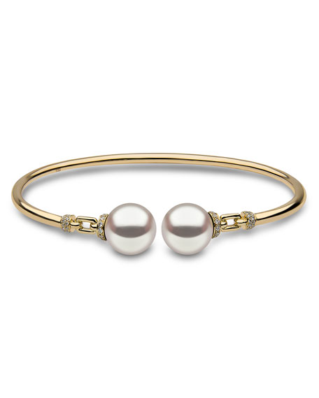 18K Yellow Gold & Pearl Bangle with Diamonds