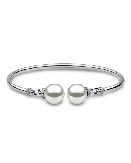 18K White Gold & Pearl Bangle with Diamonds