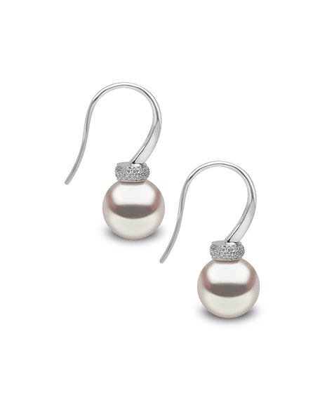 18K White Gold & Pearl Drop Earrings with Diamonds